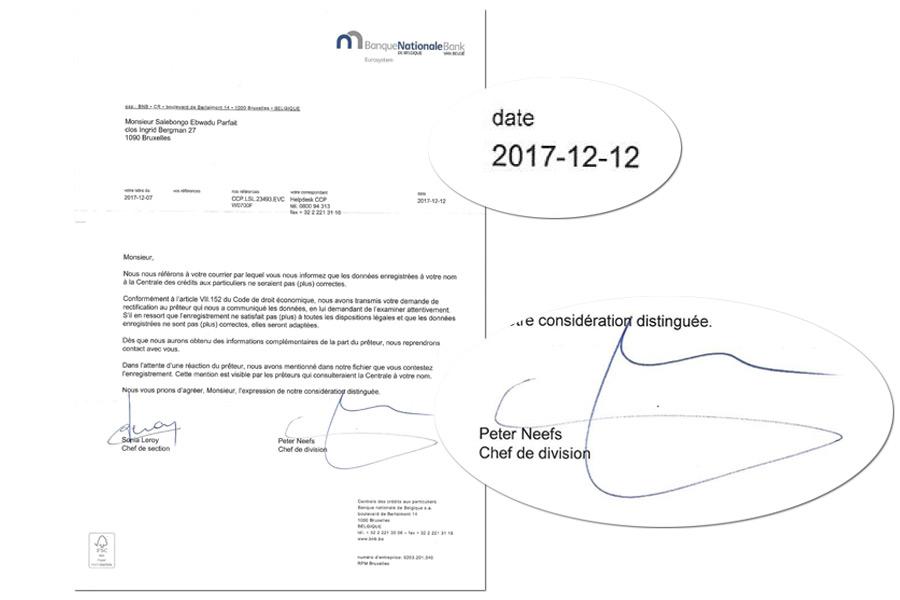 """Deuxième lettre de la """"BNB"""" datée du 12 décembre 2017"""