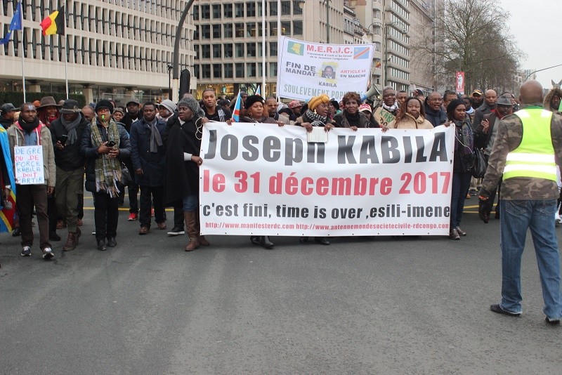 Manifestants lors de la marche contre Kabila