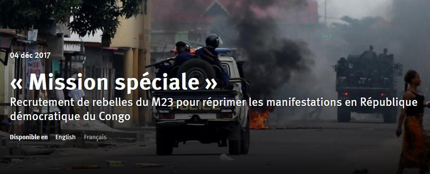 Recrutement de rebelles du M23 pour réprimer les manifestations en République démocratique du Congo